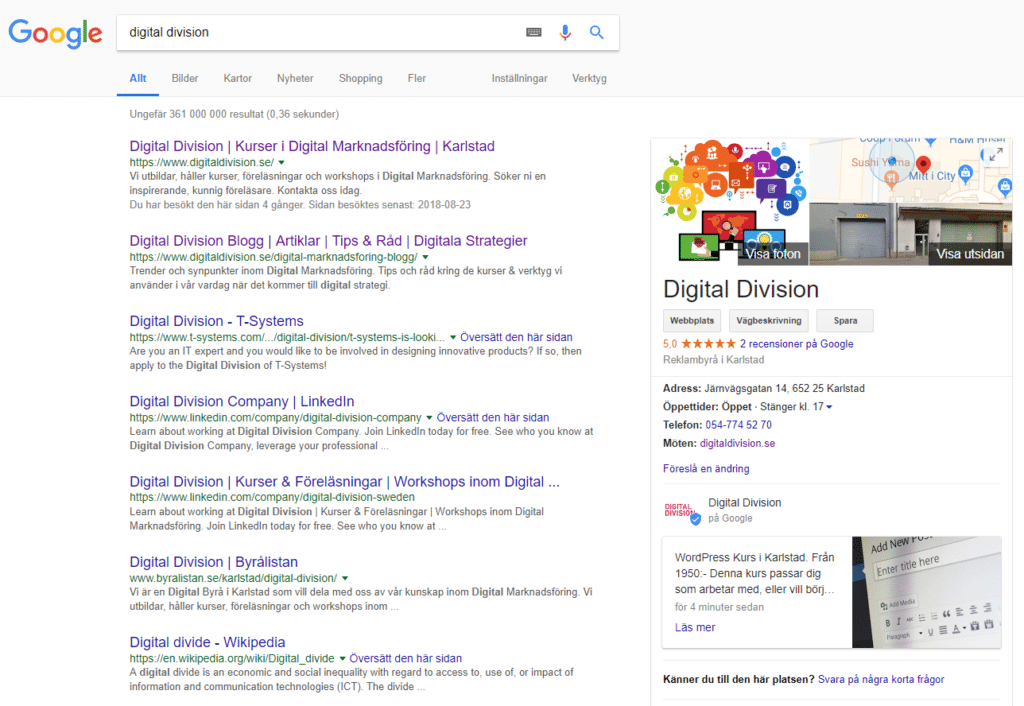 Bildexempel på Google My Business resultat