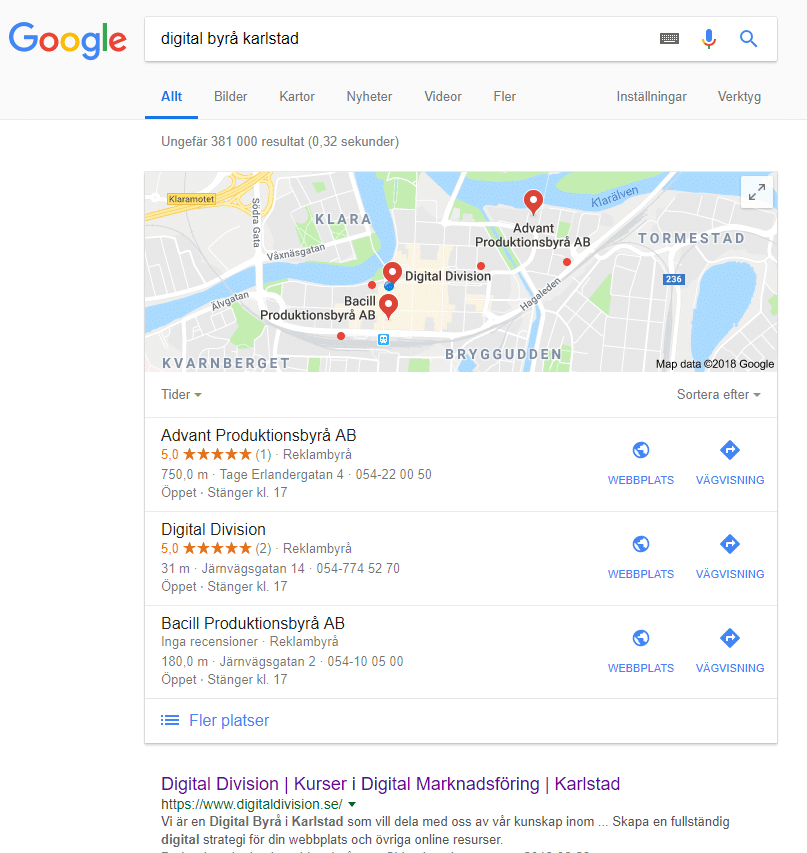 Exempel på Google My Business Branschregister