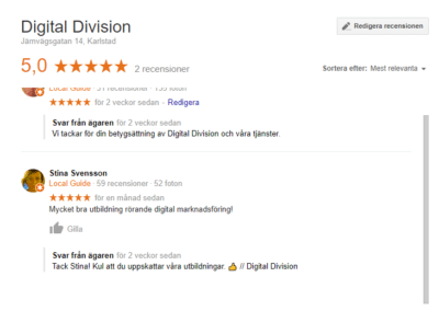Digital Division visning på Google My Business