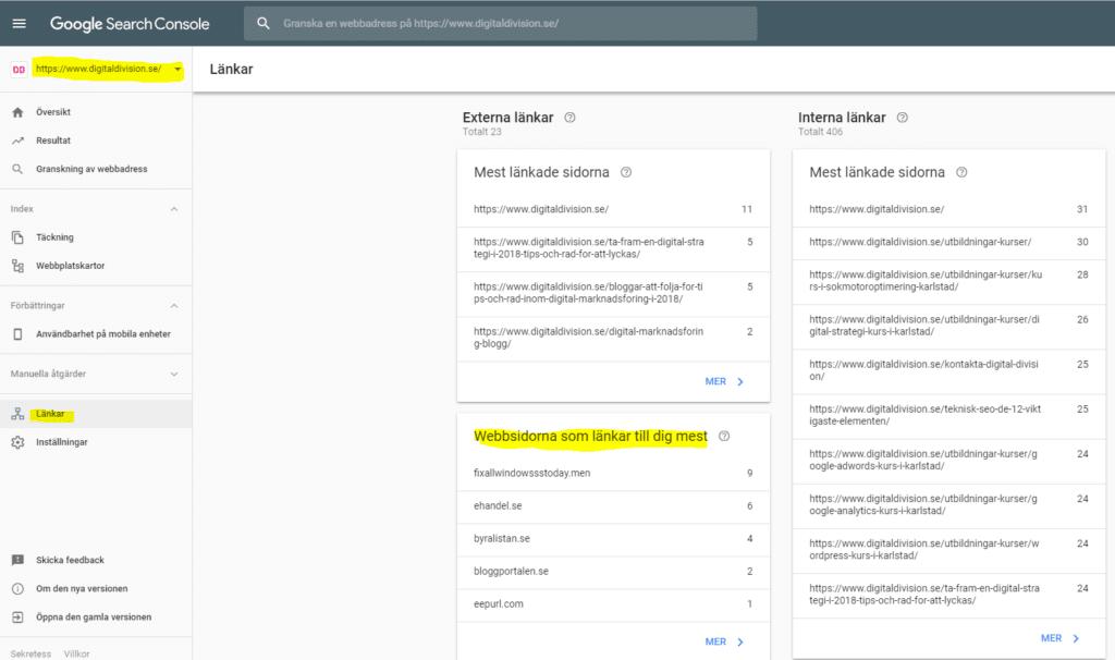 Google Search Console - Externa länkar